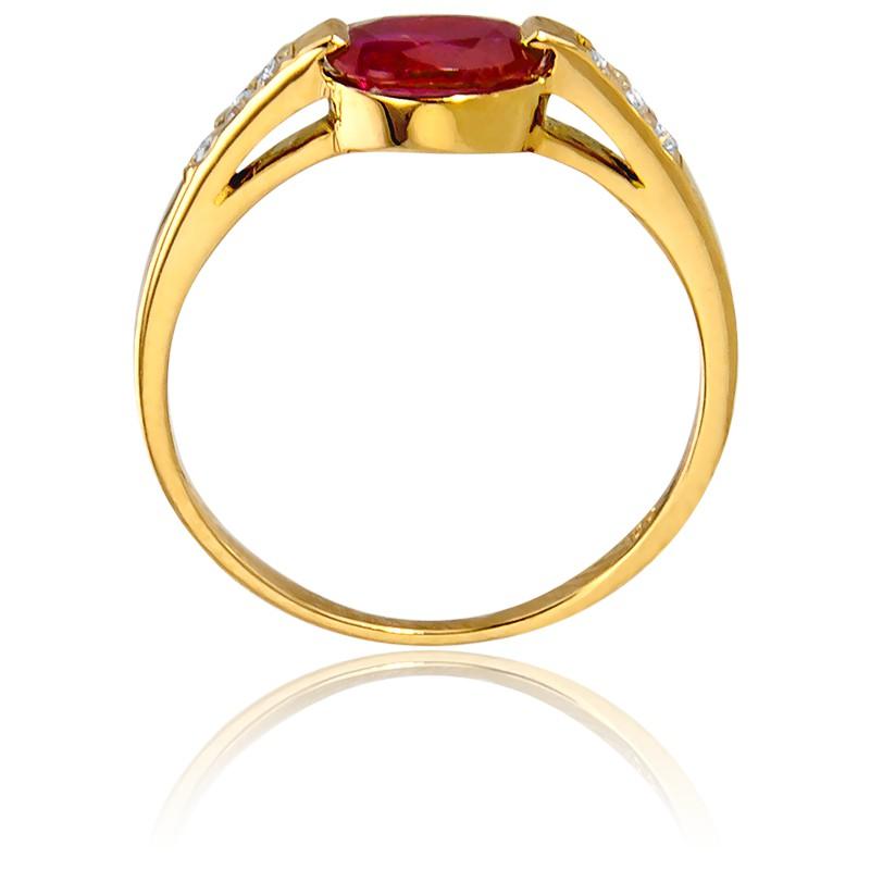 ab6fc4fd3192 Anillo de compromiso Oval Oro Diamantes Rubí Bellon - Ocarat