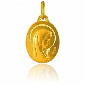 Medalla Ovalada Virgen Rezando Oro Amarillo 18K