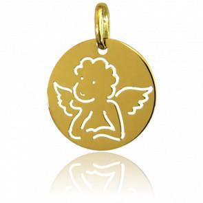 Medalla Circular Ángel Rafael Dibujo Oro Amarillo 18K