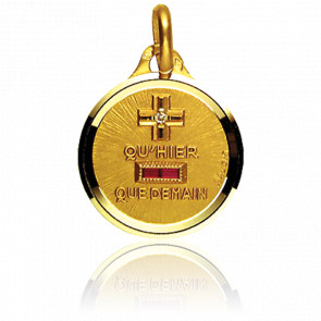 Medalla de l'Amour Circular & Pulida Oro Amarillo 18K