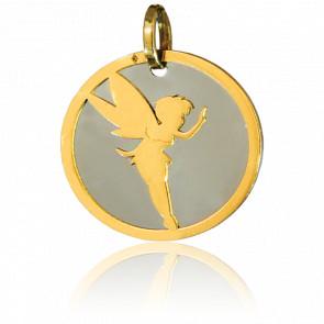 Colgante Hada Oro Amarillo 18K & Acero Gris