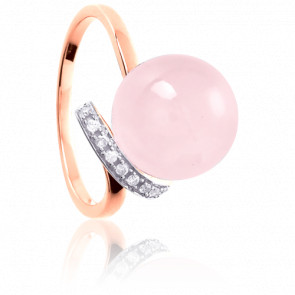 Anillo Ixia Cuarzo rosa y diamantes