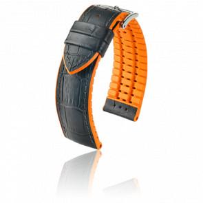Correa Andy Negro-Naranja / Silver - Ancho 22 mm