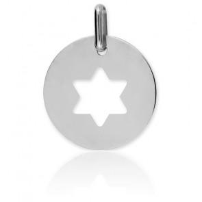 Medalla Estrella de David Calada Oro Blanco 18K