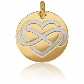 Colgante Oro Amarillo 18K & Corazón Infinito Acero Gris