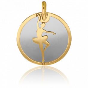 Colgante Bailarina Oro Amarillo & Acero Gris