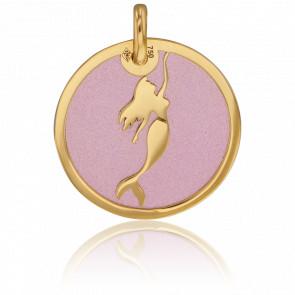 Colgante Sirena Oro Amarillo & Acero Rosa
