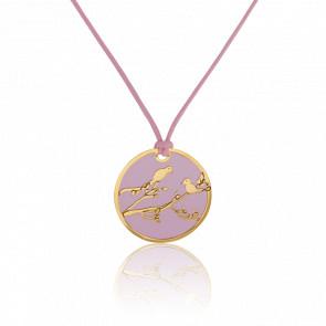 Collar Pájaros Oro Amarillo & Acero Rosa
