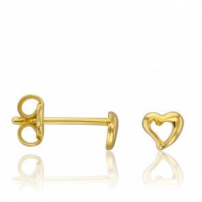 Pendientes Corazón Calado Oro Amarillo