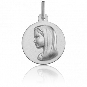Medalla Redonda Virgen con Velo Lisa Oro Blanco