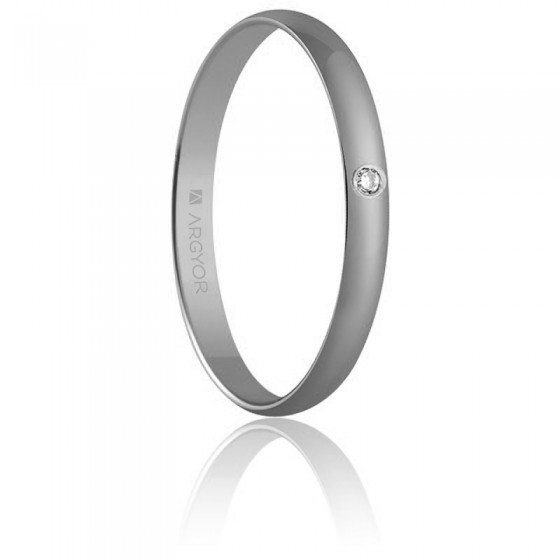 0a60df8888a2 Alianza de boda de oro blanco con diamante - Argyor - Ocarat