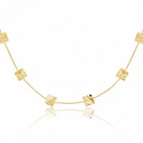 Collar Cuadrados Efecto Ondulado Oro Amarillo