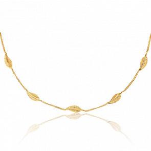 Collar Plumas Oro Amarillo