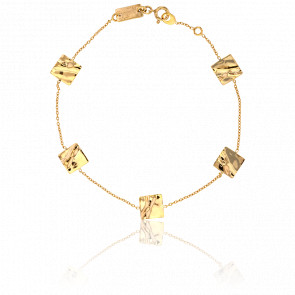 Pulsera Cuadrados Ondulados Oro Amarillo
