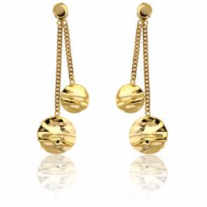 Pendientes Círculos Ondulados Oro Amarillo