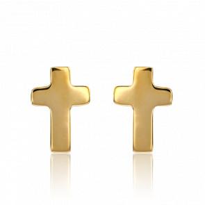 Pendientes Cruz Oro Amarillo