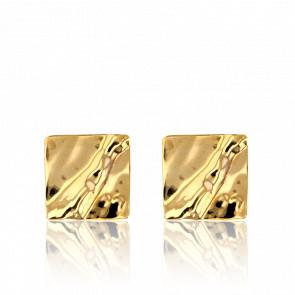Pendientes Cuadrados Ondulados Oro Amarillo