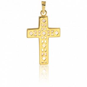 Colgante Cruz Geométrica Oro Amarillo 18 Quilates