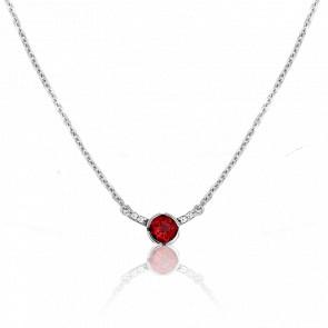 Collar Rosa Granate Oro Blanco 18 Quilates