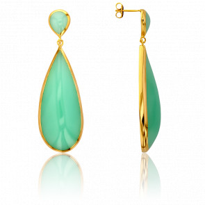 Pendientes Gota Calcedonia Verde Collection Artemis