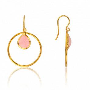 Pendientes Círculo Cuarzo Rosa Collection Rhea