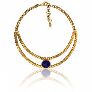 Collar Trenzado Dorado&Lapislázuli