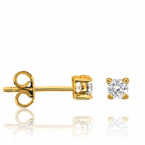 Pendientes Oro Amarillo y Diamante 4 garras 0,15ct