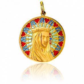 Medalla Vidriera y Virgen Notre-Dame Nord Oro Amarillo 18K