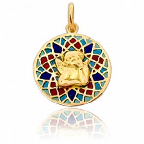 Medalla Vidriera y Ángel Oro Amarillo 18K