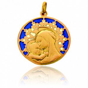 Medalla Vidriera y Virgen Chartres Oro Amarillo 18K