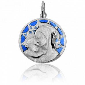 Medalla Vidriera y Virgen Chartres Oro Blanco 18K