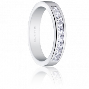 Alianza Angelina Oro Blanco 18K y Diamantes 0,50 ct