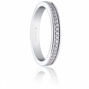 Alianza Luisa Oro Blanco 18K y Diamantes 0,19 ct