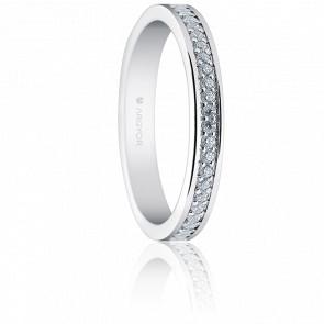 Alianza Carmen Oro Blanco 18K y Diamantes 0,45 ct
