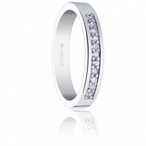 Alianza Esperanza Oro Blanco 18K y Diamantes 0,17 ct