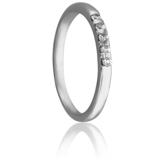 cbffac33c6a7 Alianza de Oro Blanco 18kt y 5 Diamantes 0
