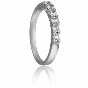 Alianza Carmen 2,50 mm Oro Blanco 18K & Diamantes 0,39 ct