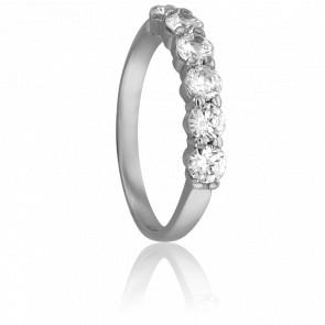 Alianza Esmeralda 3 mm Plata & Diamantes