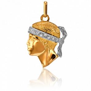 Pendentif Tête de Maure 20 x 15 mm 2 Ors & Diamants