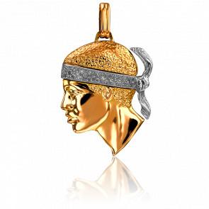 Colgante Cabeza de Moro 36 x 30 mm 2 Oros & Diamantes