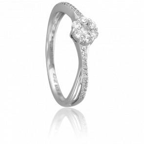 Anillo Tisya Oro Blanco 18K y Diamantes