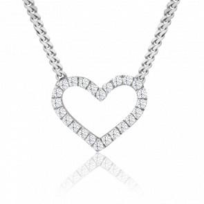 Collar Jharna Oro Blanco 18K y Diamantes