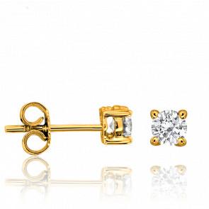Pendientes Oro Amarillo y Diamante 4 garras 0,20ct