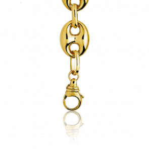 Pulsera Calabrote Hueca Oro Amarillo 16 cm