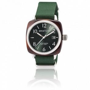 Reloj Clubmaster HMS Fecha Tortoise Verde Inglés