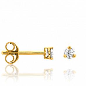 Pendientes Oro Amarillo y Diamante 3 garras 0,15ct
