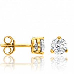 Pendientes Oro Amarillo y Diamante 3 garras 0,60ct
