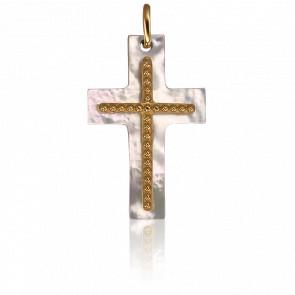 Colgante doble Cruz de Nácar y Oro Amarillo 18K