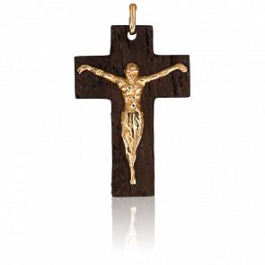 Colgante Cruz de Madera de Olivo y Oro Amarillo de 18K