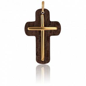 Colgante Cruz de madera de olivo y oro amarillo 18K